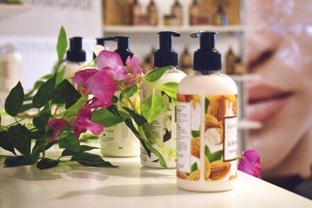 Kiev, Ukraine – 19 September, 2018: White Mandarin Cosmetics. Shower gel samples. Bottles of natural organic shower gel or shampoo. Reklamní fotografie