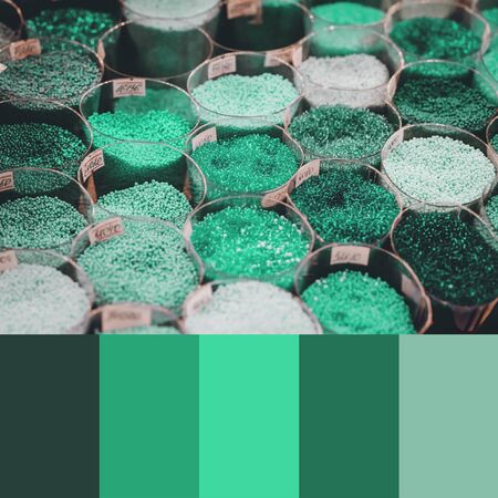 Trend 2020 Color palette with colorful beads. Collage with neo mint turquoise green colors swatch 写真素材