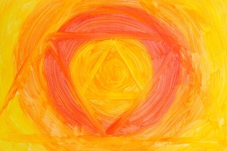 Action painting vibrant background. Abstract Hand-painted yellow and orange art background. Multicolored paint strokes. 写真素材