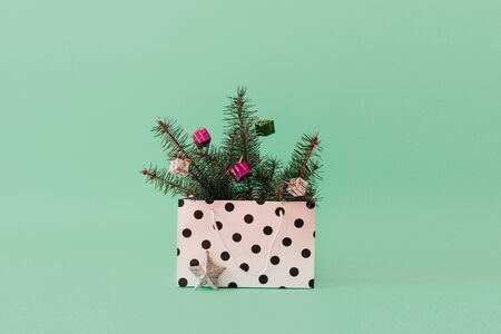 Christmas composition with Conifer Evergreen tree branches and bauble ball in gift bag. Christmas and 2020 new year minimal concept on pastel background, copy space Reklamní fotografie