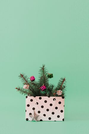 Christmas composition with Conifer Evergreen tree branches and bauble ball in gift bag. Christmas and 2020 new year minimal concept on pastel background, copy space