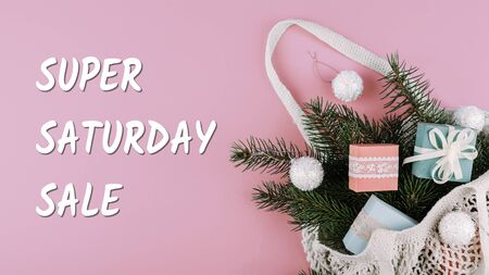 Super Saturday or Panic Saturday sale banner with gift boxes on pink background.