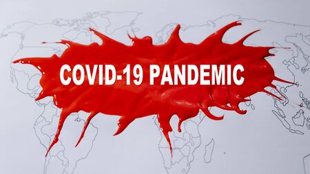 Covid-19 Pandemic background. Text Covid-19 Pandemic on world map. Novel Coronavirus disease named COVID-19, pandemic risk. Stock Photo