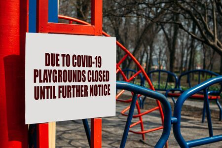 Coronavirus lockdown, quarantine. Amusement parks, playground, beaches and public gardens closed to the public during Covid-19 lockdown. Coronavirus: How walk safely.