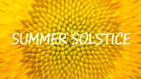 Summer solstice, estival solstice, midsummer. Summer solstice banner with text on yellow sunflower background Фото со стока