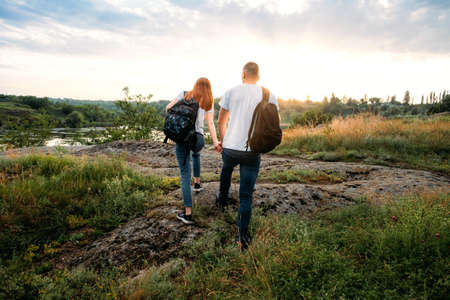 Home Country Traveling, domestic travel. Local travel, Solo Explorers, Small Group tourist. Young couple going for hiking, walk in nature