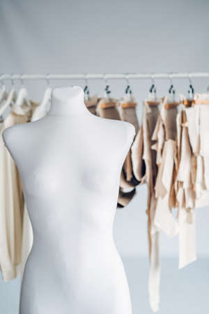 Many paper sewing patterns and mannequin in sewing factory background. Clothing pattern, manufacture on sewing factory. Tailoring, small business. 免版税图像