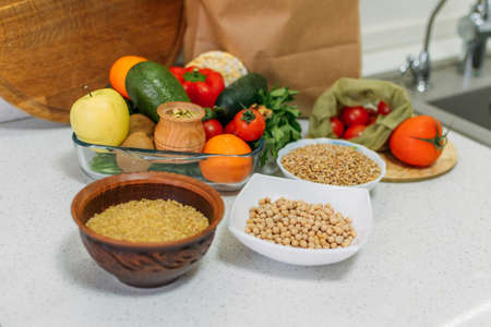 Boosting, Balancing Immune Health. Health food for immune system. Healthy natural vegetables, fruits, cereals and nuts for immunity stimulation and viruses protection