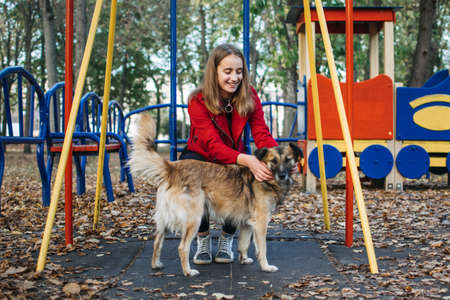 Volunteering, help charity teen woman with dog rescue. Teen girl and homeless stray dog play in fall park. Teenager volunteer girl meet stray dog in autumn park.