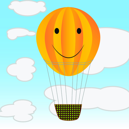 Air ballon in the sky among clouds illustration