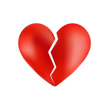 broken love: Broken heart isolated on white