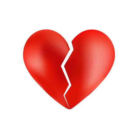 corazon roto: Roto el corazón aislado en blanco Vectores