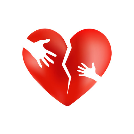 Broken red heart with hands of adult and child on it, isolated on wite