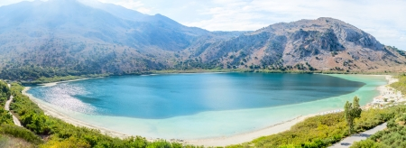 Greece, island of Crete, lake Kurnas, october, 2013, Panoramic view Stock Photo