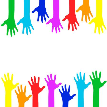 Manos de colores - ilustración vectorial