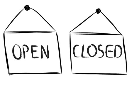 Open and closed shop signs drawing on white Illustration
