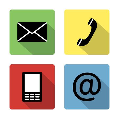 Skontaktuj się ikony zestaw przycisków - koperta, telefon komórkowy, telefon, adres poczty Ilustracja
