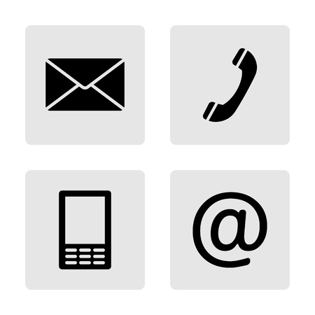 Contact monochrome icons set - envelope, mobile, phone, mail Vector
