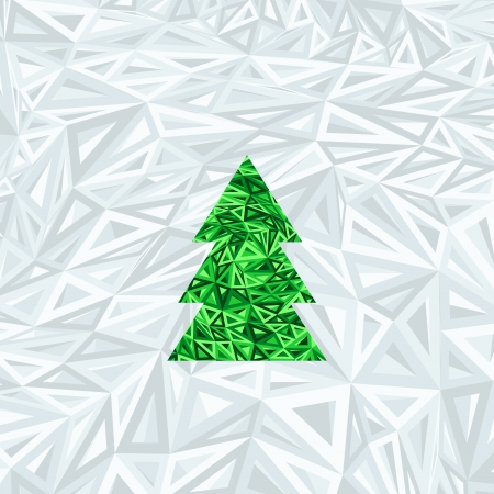 Christmas geometric abstract tree on blue abstract background Stock Photo