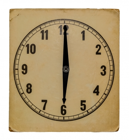 pm: Old vintage wall clock isolated on white background. Showing 6 pm