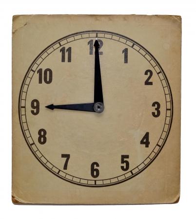 Ściana stary zegar wyizolowanych na białym tle. Pokazuje godzina dwudziesta pierwsza Zdjęcie Seryjne