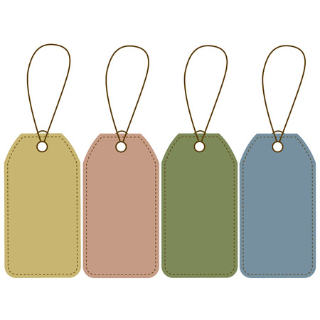 Blank price tags of different colors Illustration