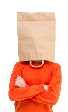 Man in paper bag on head isolated on white background. photo