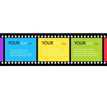 Film strip design colored text box vector Vector