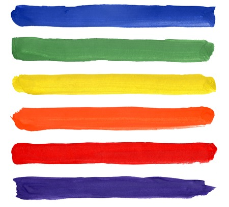Set of colorful watercolor brush strokes Stock Photo