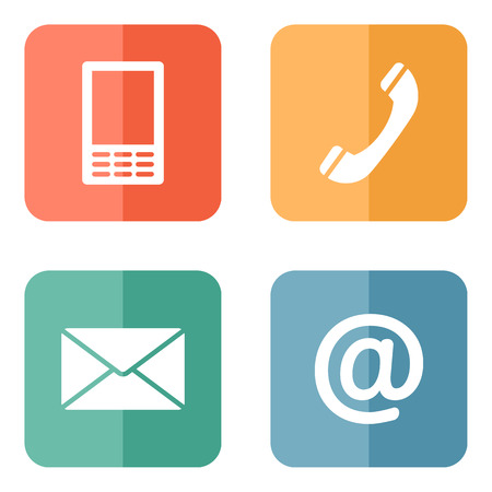 get in touch: Contact icons buttons set - envelope, mobile, phone, mail