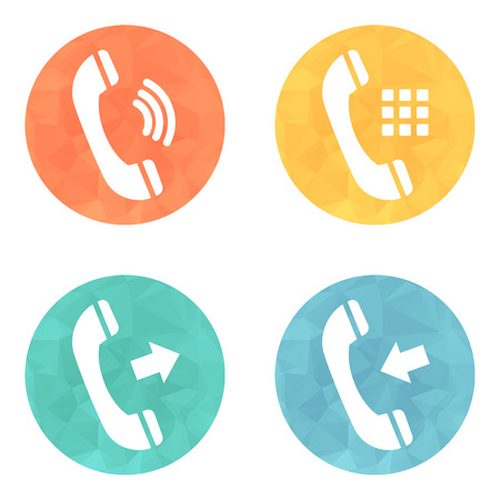 Phone icons set on colored buttons background. Vector illustration.