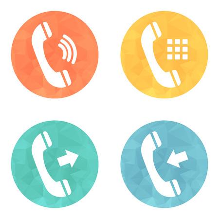 Telefon ikony przycisków zestaw na kolorowym tle. Ilustracji wektorowych. Ilustracja