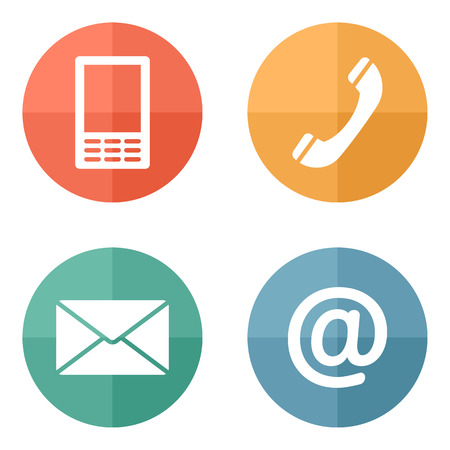 Contact icons buttons set - envelope, mobile, phone, mail Vector