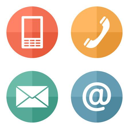 Contacto Botones de los iconos fijados - dotación, móvil, teléfono, correo Ilustración de vector