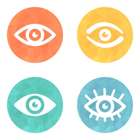 Collection of eyes icons on colored buttons photo