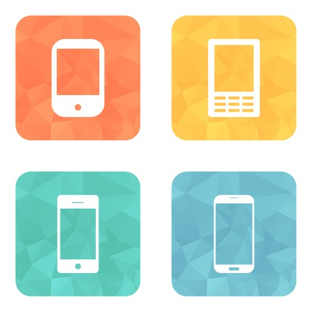 Telephone icons set on bright circle buttons. Illustration