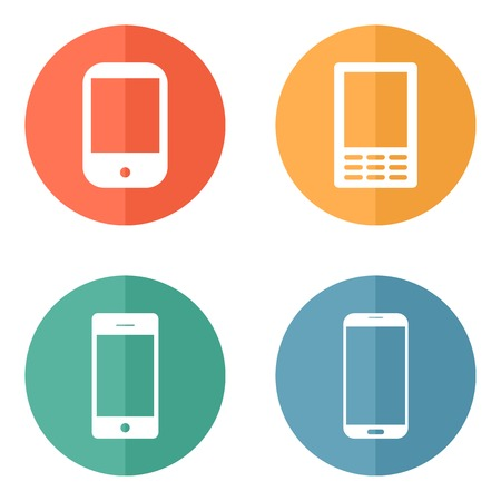 Telephone icons set on bright circle buttons. Vector