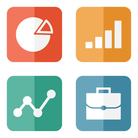 Business Icons on colored buttons. Vector illustration. Vector
