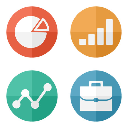 Business Icons on colored buttons. Vector illustration. Ilustracja