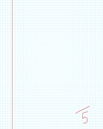 Notebook maths paper with excellent five mark in red color Vector