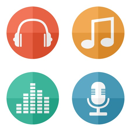 Flat bright music icons Vector