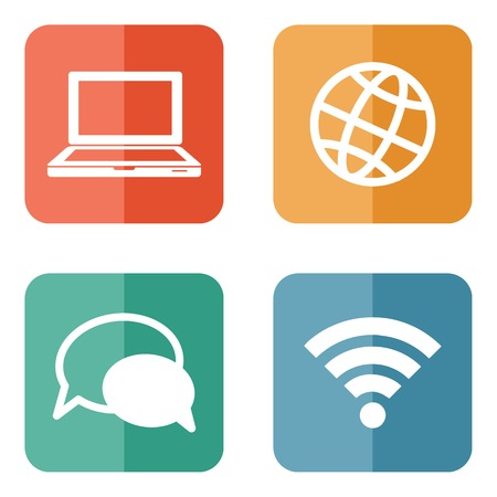 color circular communication icons isolated