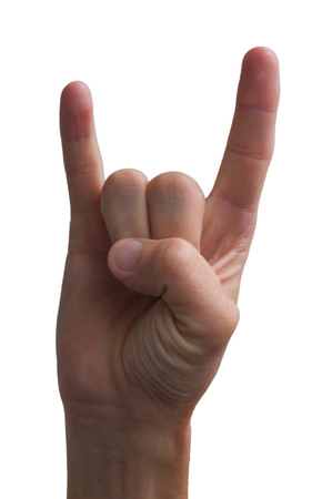 Hand showing rock-n-roll sign photo