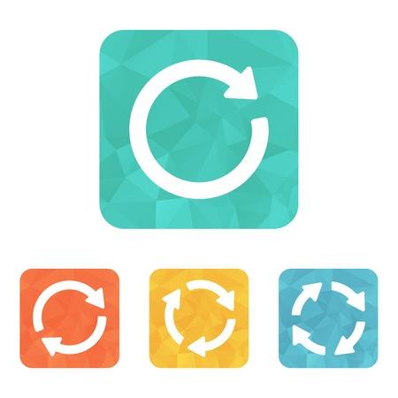 groupware: Muestra de la flecha refrescar reload pictograma bucle rotaci�n. Icono simple. Estilo minimalista Moderno piso en el c�rculo de botones de colores.