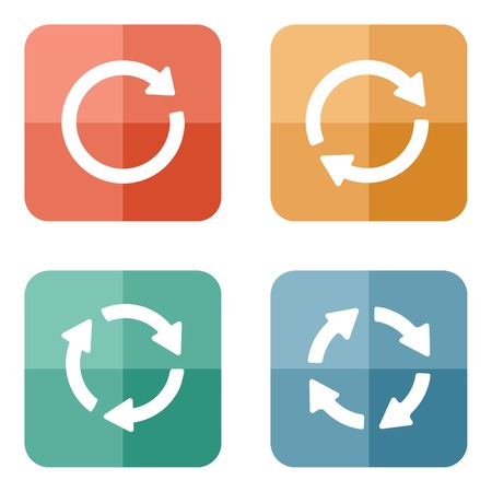arrow sign reload refresh rotation loop pictogram. Simple icon. Modern flat minimal style on colored circle buttons.