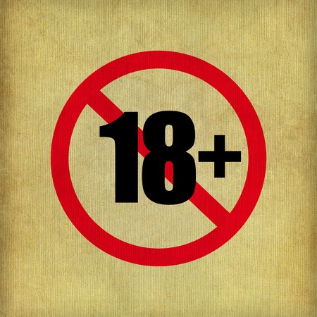 18+ Sign on beige paper texture background - EPS10 photo