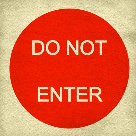 Do not enter sign on white paper background photo