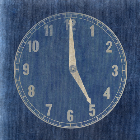 Textured old paper clock face showing 5 oclock