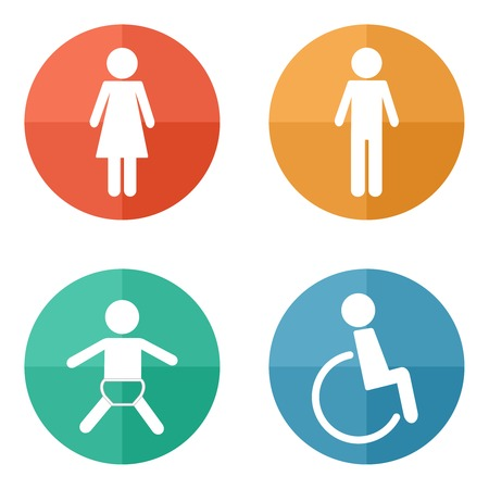 Vector restroom icons on bright buttons - lady, man, child, diasbility Vector