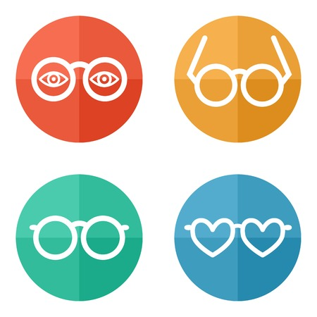 Set of flat colored simple icons - glasses, spectacles - vector illustration Vector